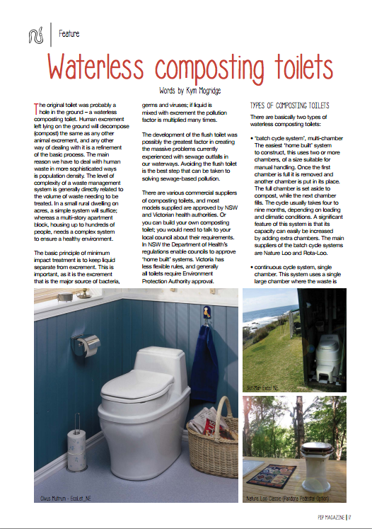 An article about waterless composting toilets in Australia by Kym Mogridge