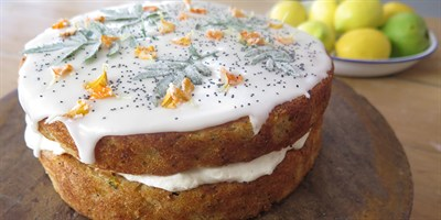 http://www.lifestylefood.com.au/recipes/22436/double-decker-zucchini-cake-with-candied-garden-leaves