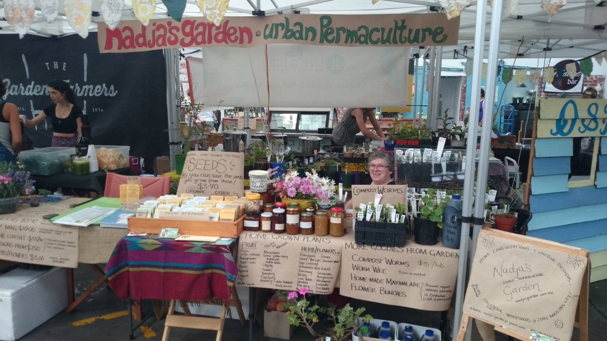 Nadja's Garden stall at the Seed Freedom Festival in Adelaide 2014