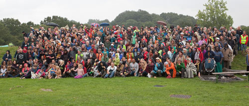 Whole group photo in the beautiful English rain