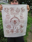 flowers for honeybee tea towel
