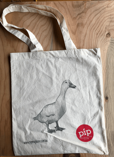 image of organic tote bag printed with drawing of a duck from Pip Magazine