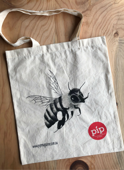 image of organic tote bag printed with The Bee- cover of Pip Magazine artwork