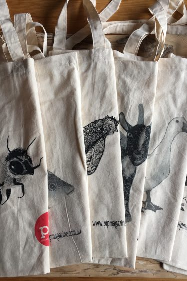 image of all 6 of Pip Mag's Market Tote Bags